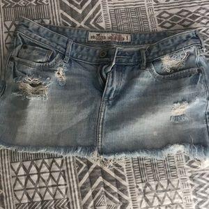 Destroyed light blue jean hollister skirt